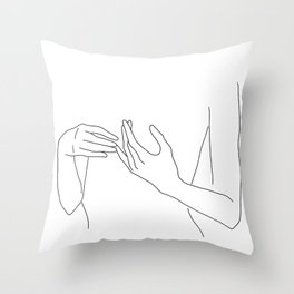 Line Hands 2 Throw Pillow