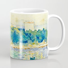 Mediterranean Landscape With a White House Watercolor Landscape Painting Coffee Mug
