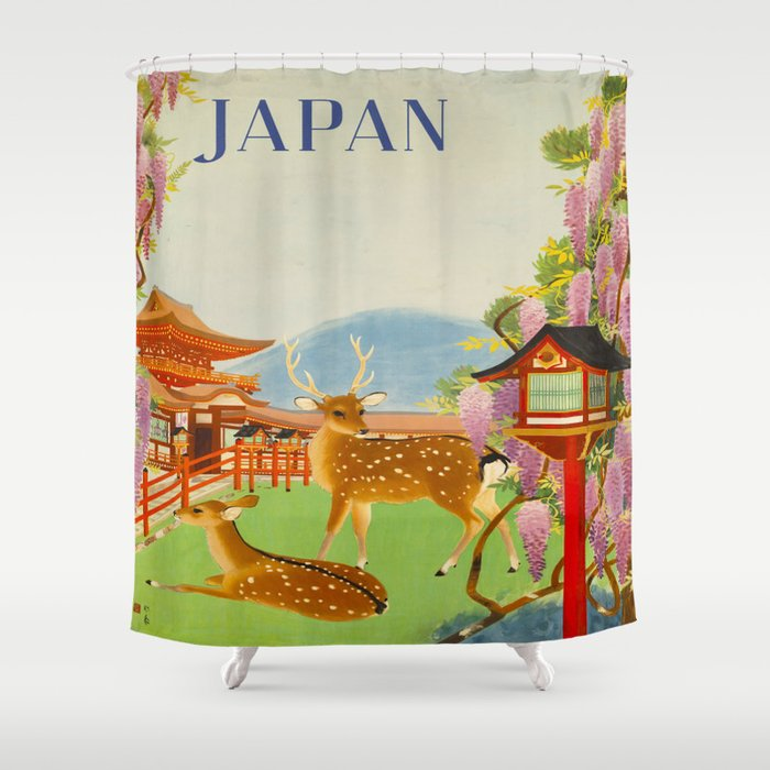 Vintage Mid Century Modern Japan Travel Poster Deer Red Pagoda Wisteria Garden Shower Curtain