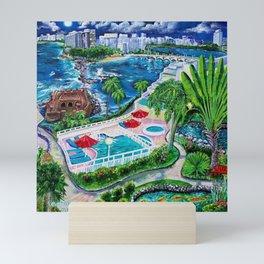 San Geronimo, Condado and Santurce view from Caribe Hilton garden, San Juan, Puerto Rico Mini Art Print