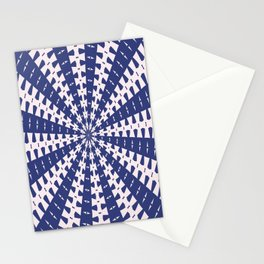 Navy Blue and Pink Dovetail Kaleidoscope Stationery Cards