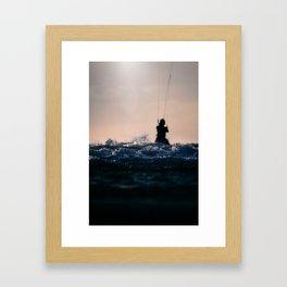 The sea and the kitesurfer Framed Art Print