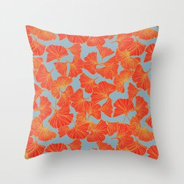 Tumbling Ginkgo Red Throw Pillow