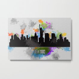 Watercolor art of the New York skyline silhouette Metal Print