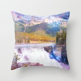 Waterfall and Mountain Throw Pillow