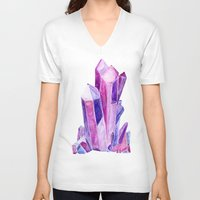 crystal V-neck T-shirts featuring Crystal by Christina Guo