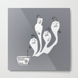 Ghosts with Fez Metal Print