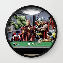 Afterhours: Superheroes Relax Playing Pool Wall Clock
