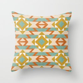Aztec Pattern Beige Throw Pillow