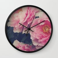 peonies Wall Clocks featuring Peonies  by Kameron Elisabeth