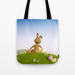 III - Easter bunny with a basket and Easter eggs Tote Bag
