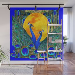 FULL GOLDEN MOON BLUE PEACOCK  FANTASY ART Wall Mural