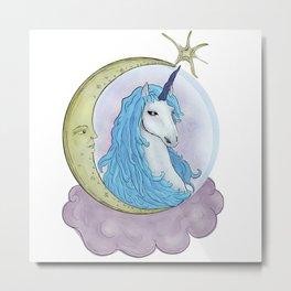 Moon Tarot Unicorn Metal Print