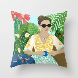 Tarot Reader Woman Mystic Cool Girl in Tropical Setting Horoscope Throw Pillow