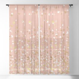 Floating Confetti - Peach and Gold Sheer Curtain