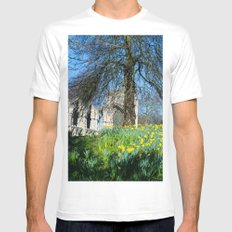 Spring in Museum Gardens White MEDIUM Mens Fitted Tee