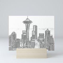 Minimalist Black and White Seattle Skyline with Space Needle Mini Art Print