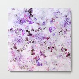 Shabby vintage lavender violet watercolor floral Metal Print