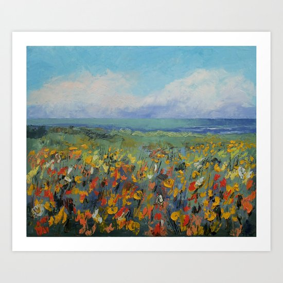 Wildflower Seascape Art Print