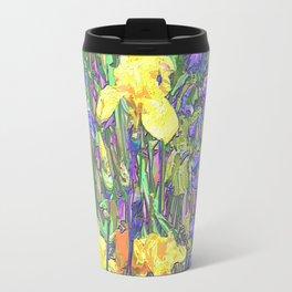Blue & Yellow Iris Garden - Abstract Travel Mug