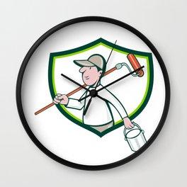 House Painter Paint Roller Can Shield Cartoon Wall Clock