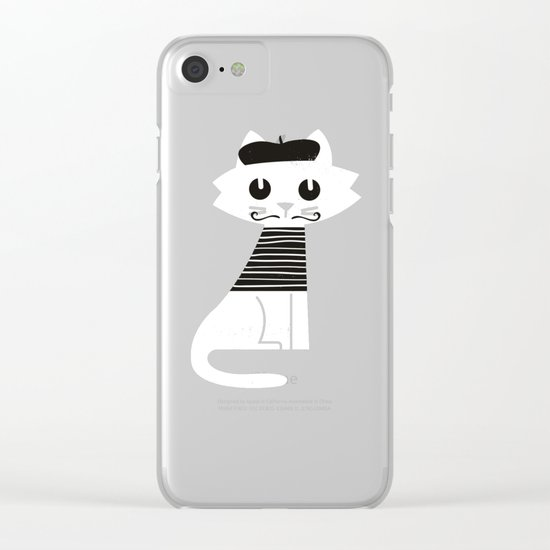 Mark the cat goes to Paris Clear iPhone Case