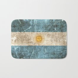 Vintage Aged and Scratched Argentine Flag Bath Mat