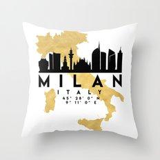 MILAN ITALY SILHOUETTE SKYLINE MAP ART Throw Pillow