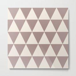 Geometric Triangle Pattern 738 Beige Metal Print