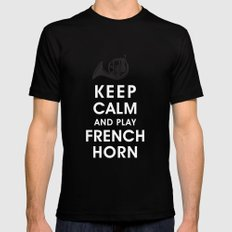 Keep Calm and Play French Horn Mens Fitted Tee MEDIUM Black