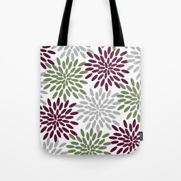 Floral Petals in Sage Green, Wine Red and Grey Tote Bag