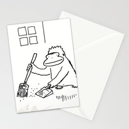 Ape with Broom and Dustpan Stationery Cards