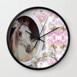 White orchids & Arabian mare Wall Clock