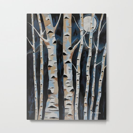 Moonlight And The Birch Metal Print