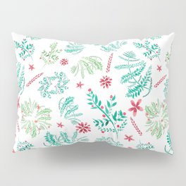 Red and Green Christmas leaves patterm Pillow Sham