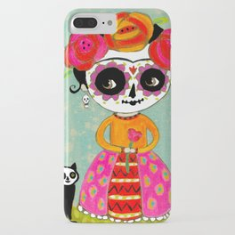 Day Of The Dead Frida with Black Cat iPhone Case