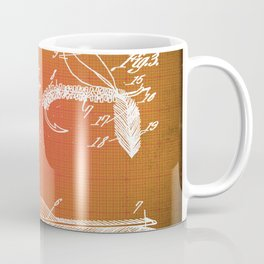 Fly Fishing Bait Patent Blueprint Drawing Sepia Coffee Mug