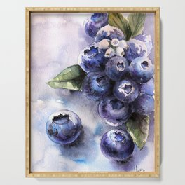 Watercolor Blueberries - Food Art Serving Tray
