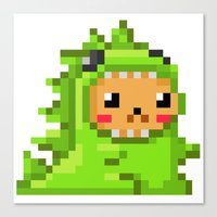 8bit Canvas Prints featuring 8bit Dinobear by Bear Picnic
