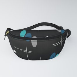 Ovals and Starbursts Black & Teal Fanny Pack