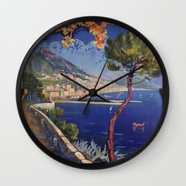 Salerno Italy vintage summer travel ad Wall Clock