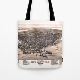 Bird's Eye View of Key West, Florida (1884) Tote Bag