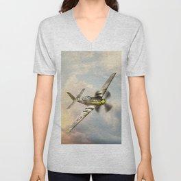 P-51 Mustang World War II Fighter Plane Unisex V-Neck