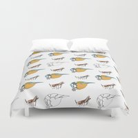tits Duvet Covers featuring Great Tits eat Grasshoppers by The Bird Draws