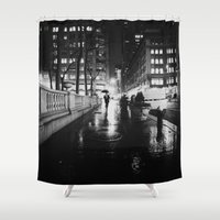 new york city Shower Curtains featuring New York City Noir by Vivienne Gucwa