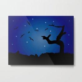 Nightscape Landscape Illustration Metal Print
