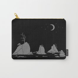 Moon Over Three Graces Grey on Black Carry-All Pouch