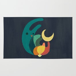 Rabbit and crescent moon Rug