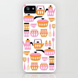My Midcentury Modern Kitchen In Pink And Tangerine iPhone Case