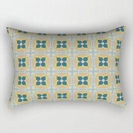 Olive Green Tiles Pattern Portuguese Patchwork Moss Rust Blue Tiles Home Decor Rectangular Pillow